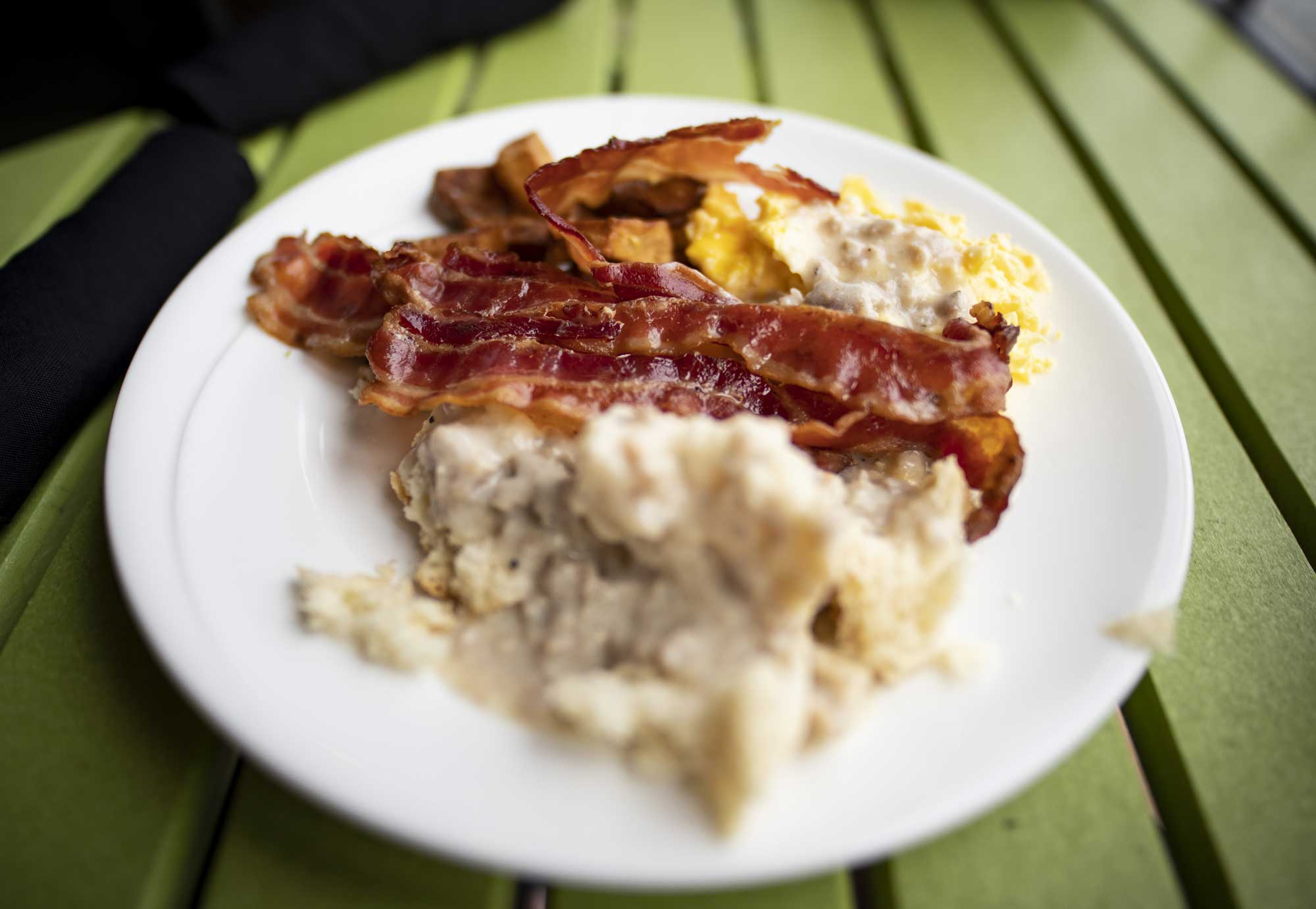 bacon, eggs, biscuits and gravy at camden on the lake