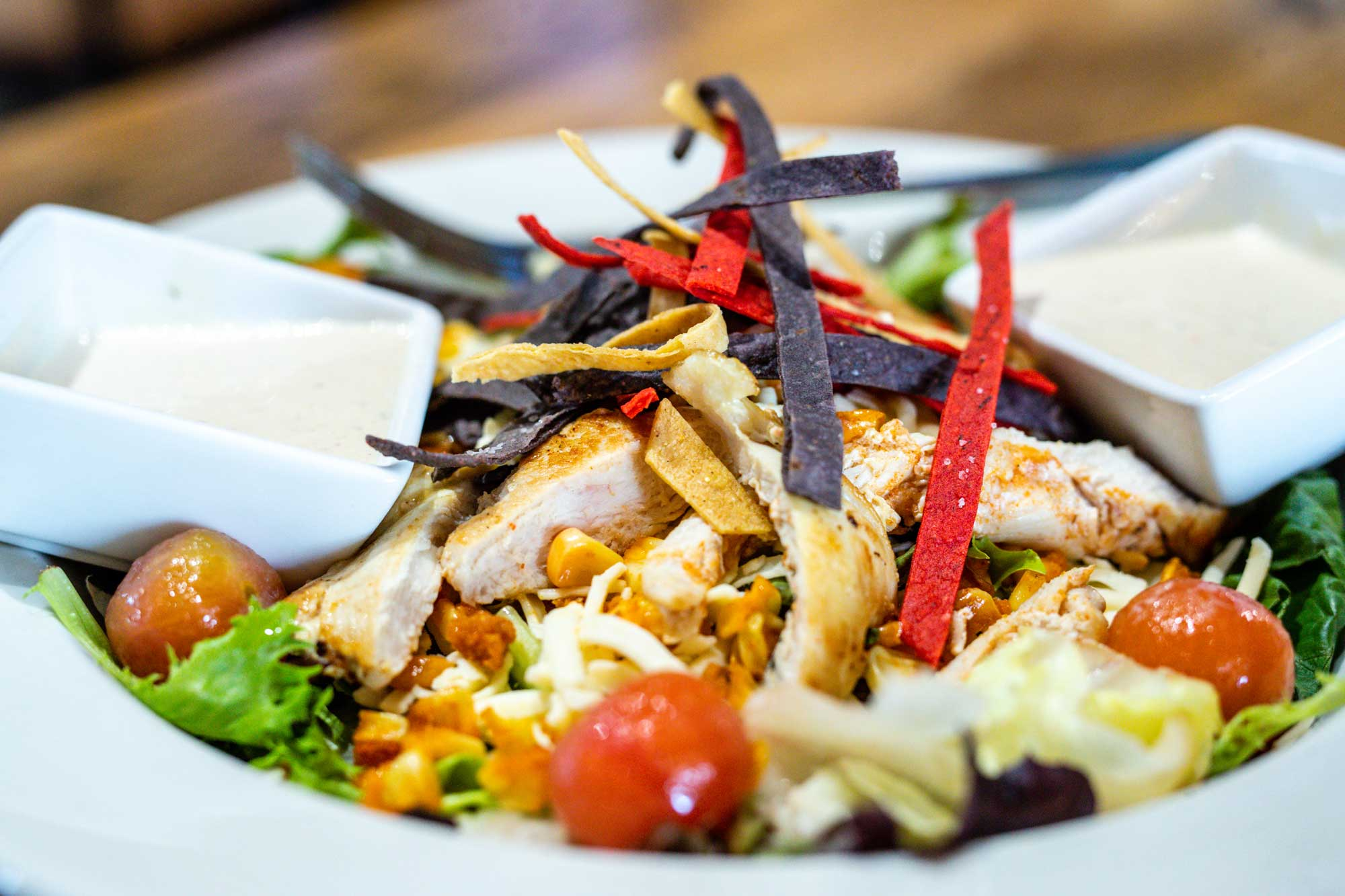 Grilled Chicken tortilla salad at camden on the lake