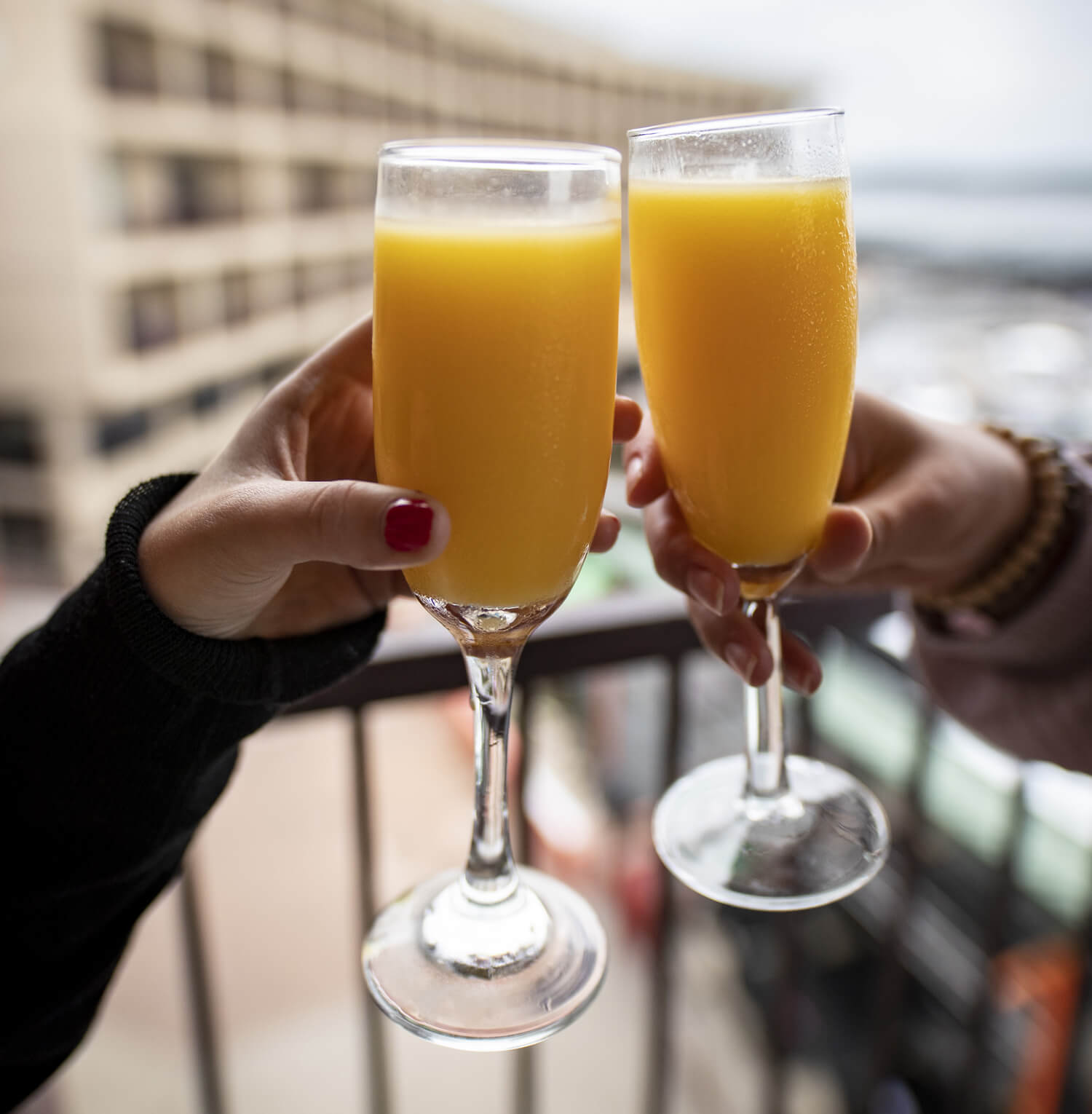 mimosa cheers at camden on the lake on balcony