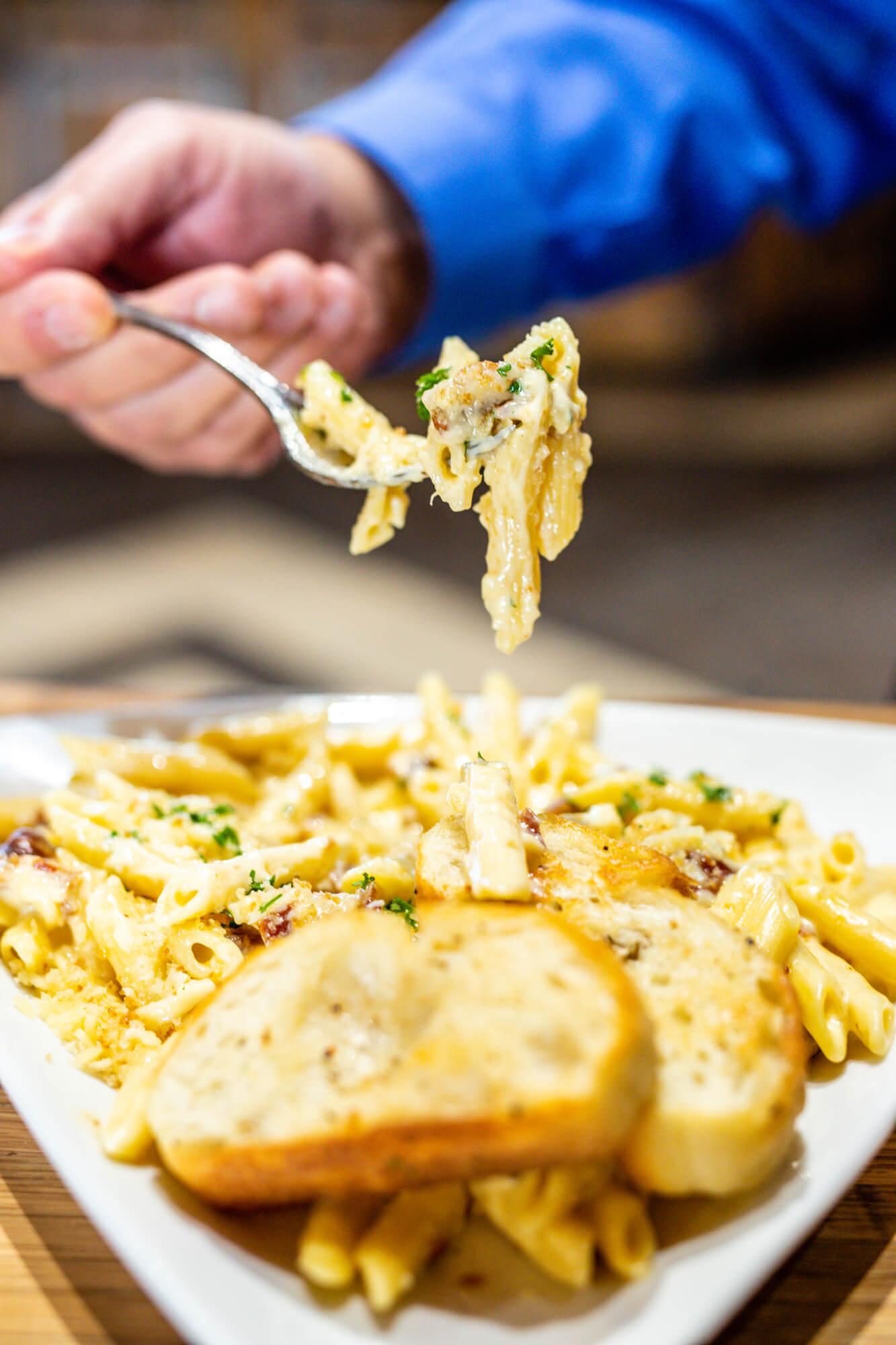pasta dish at camden on the lake restaurant