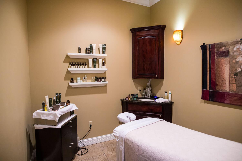 A massage room at Spa 54, the Spa at Camden on the Lake Resort at Lake of the Ozarks
