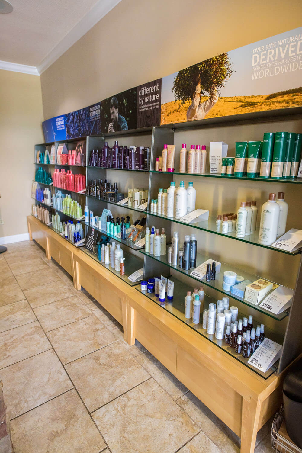 Products on the shelf at Spa 54 Camden on the Lake REsort