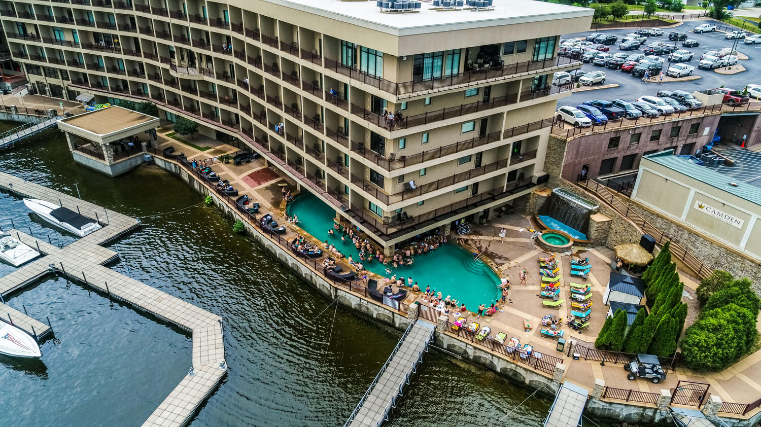 Aerial view of pool at camden on the lake resort