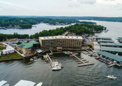 Camden on the Lake Resort with marina docks on the water lake of the ozarks
