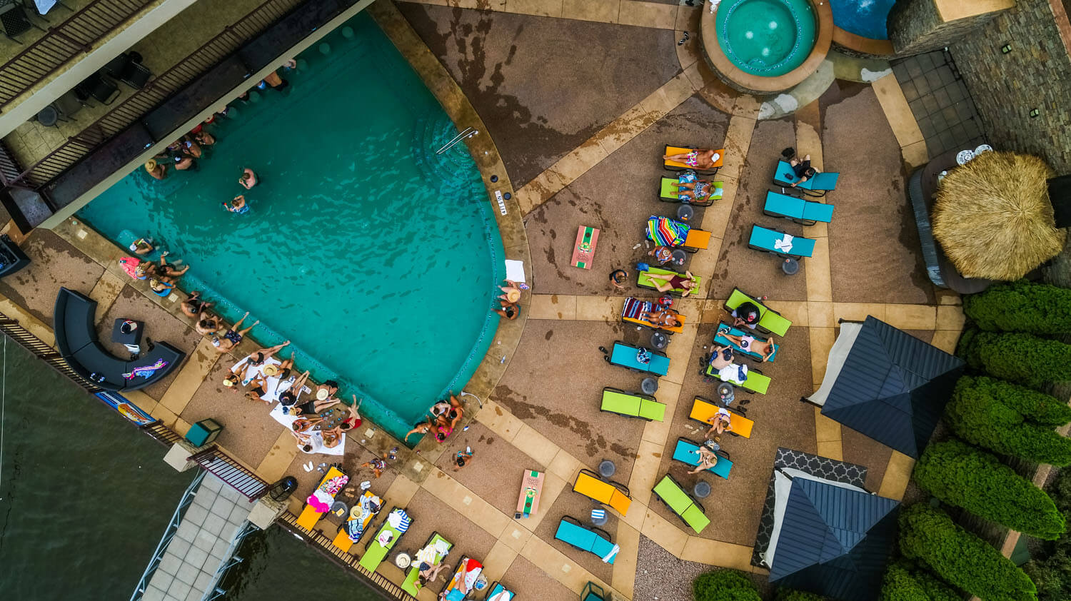 Aerial view of guests enjoying pool at camden on the lake resort