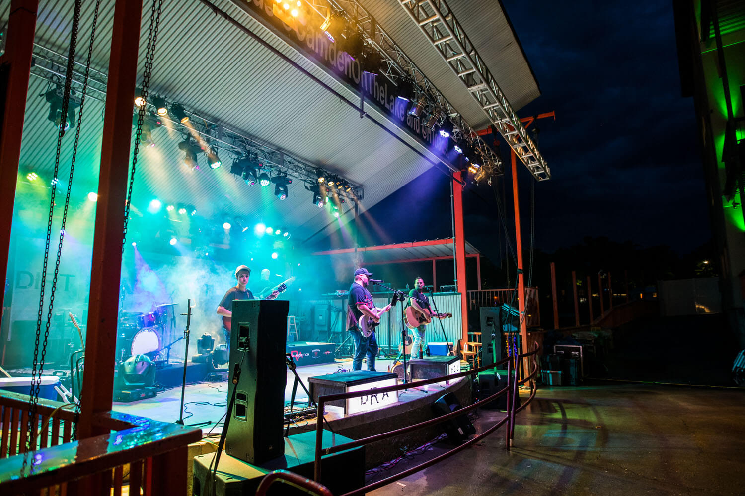 Live music being performed on stage at Toad Island on Lake of the Ozarks