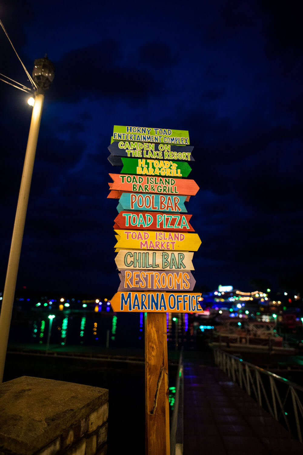 Sign with directions to locations at Camden on the Lake Horny Toad Entertainment complex