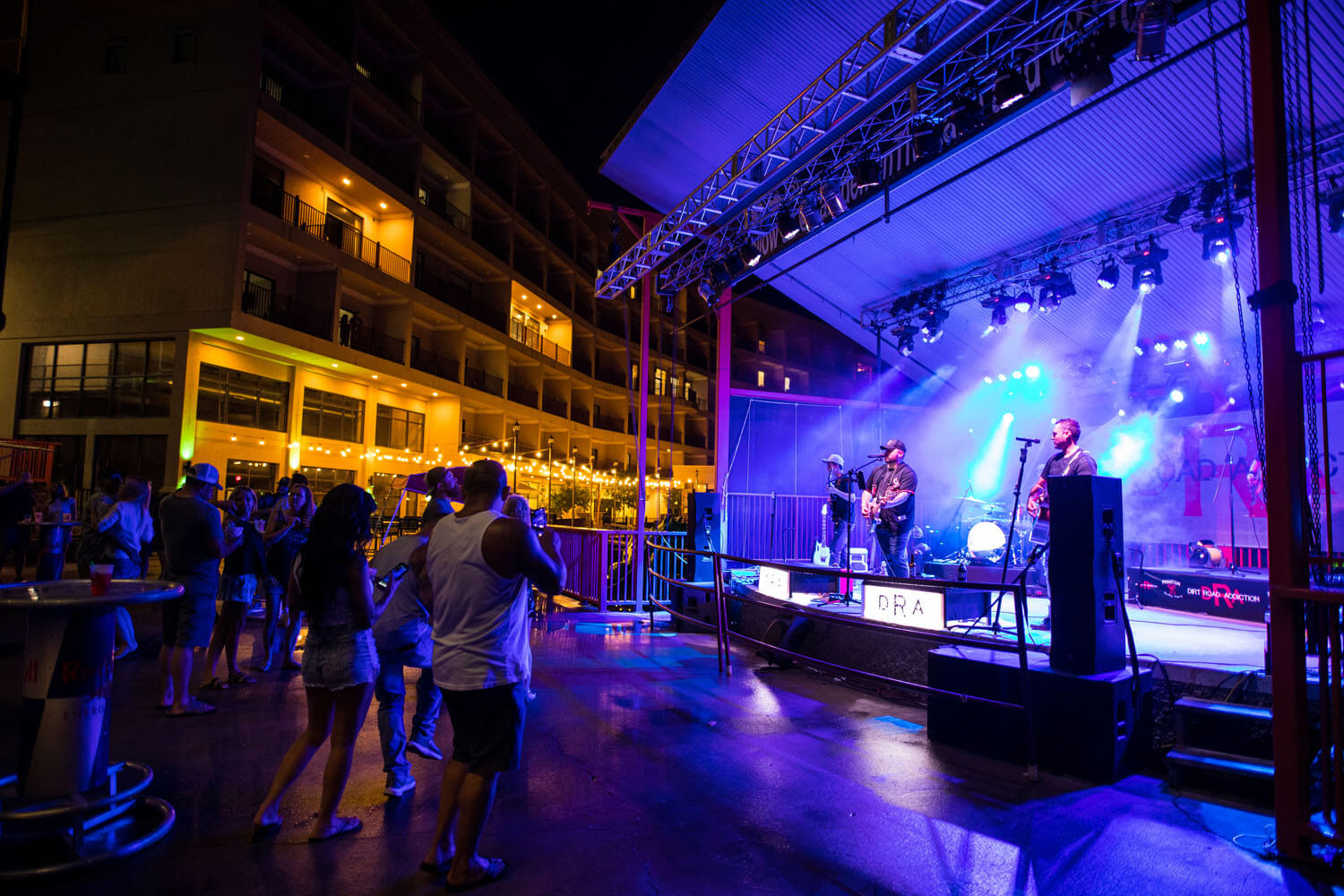 Live music is performed on stage at toad island