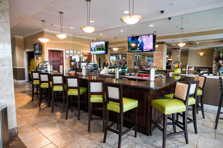 bar seating at cafe at camden on the lake resort