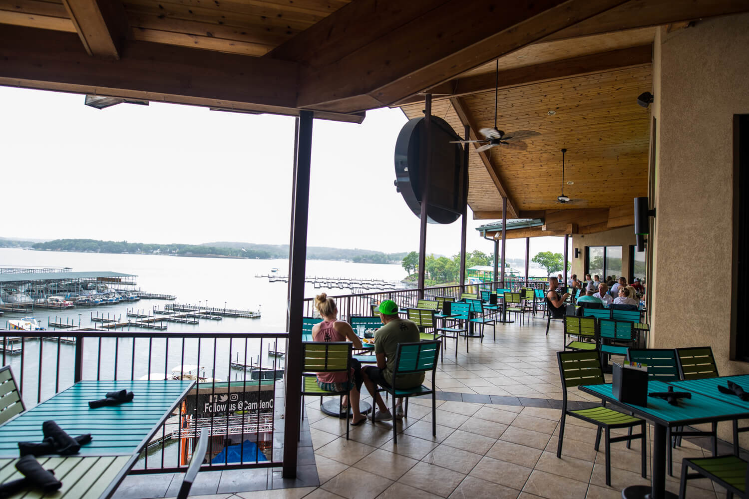 Patio seating with view of the Lake of the Ozarks at H Toads Bar and Grill