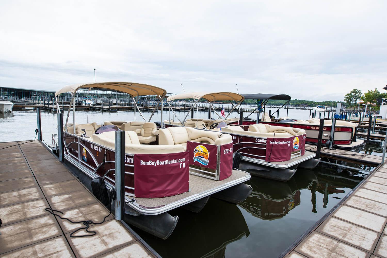 Pontoon boat rentals docked at Camden on the Lake Resort at Lake of the Ozarks