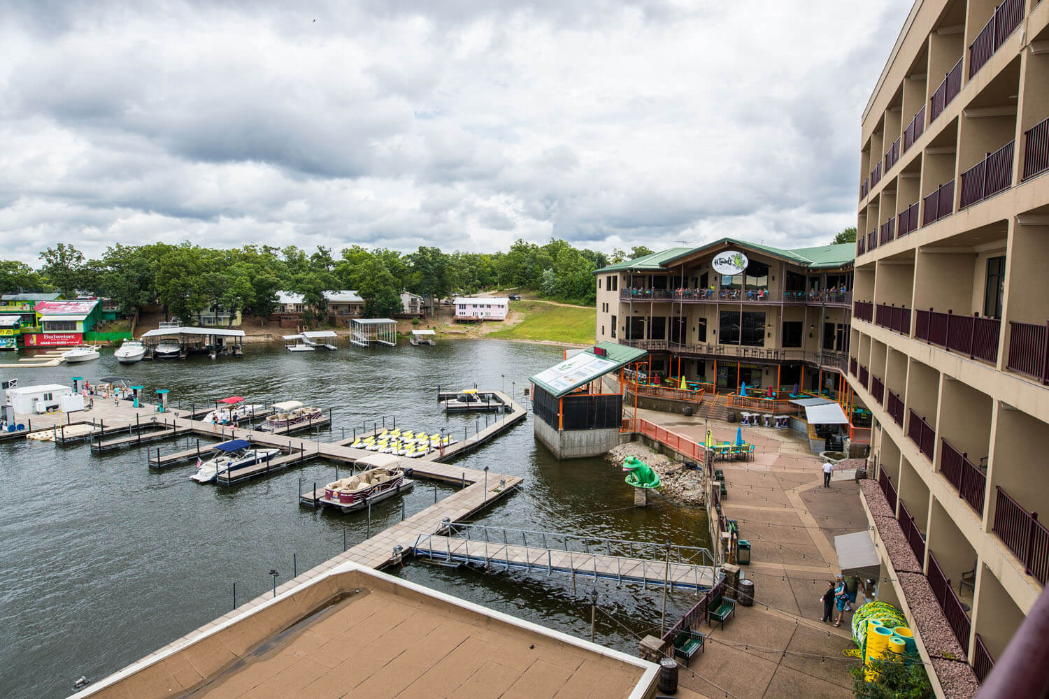 Waterfront side of camden on the lake resort lake of the ozarks