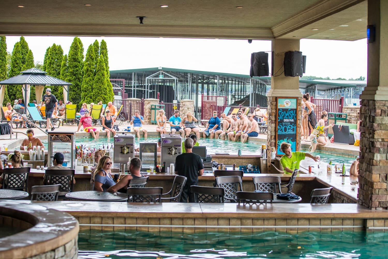 The bar and pool at camden on the lake resort