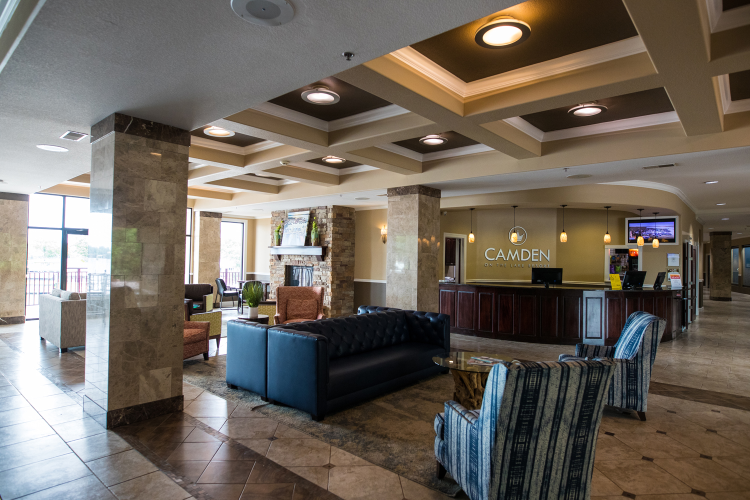 Seating and front desk in the lobby at Camden on the Lake Resort