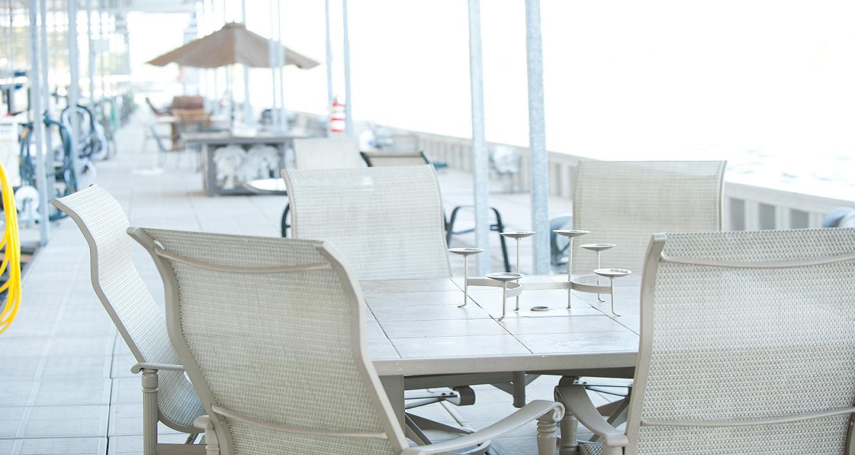 Outdoor patio seating at Camden on the Lake Resort at Lake of the Ozarks